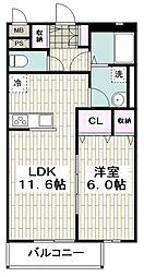 横浜市営地下鉄ブルーライン 立場駅 徒歩12分の賃貸アパート 1階1LDKの間取り
