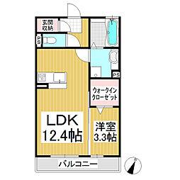 セラ 3階1LDKの間取り