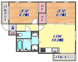 エールハイツ本山[302号室]の間取り