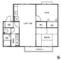 福岡県北九州市八幡西区則松3丁目の賃貸アパートの間取り