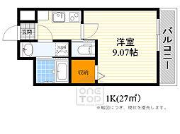 モダンアパートメント江坂町 4階1Kの間取り