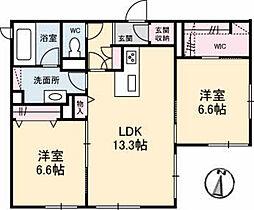 広島電鉄6系統 江波駅 徒歩10分の賃貸マンション 1階2LDKの間取り