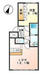 岐阜県美濃加茂市中部台7丁目の賃貸アパートの間取り
