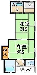 大阪府枚方市北中振1丁目の賃貸アパートの間取り