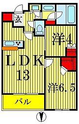 パークタワー錦糸町 6階2LDKの間取り