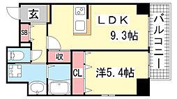 JEUNESSE北野[7A号室]の間取り