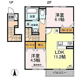 D−room南吉田(仮)[B201 号室号室]の間取り