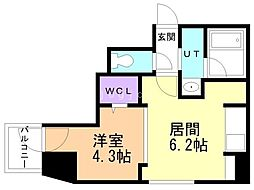 F022円山 2階1DKの間取り