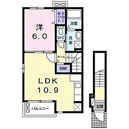 伊予鉄道高浜線 山西駅 徒歩7分の賃貸アパート 2階1LDKの間取り