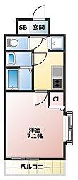 Osaka Metro御堂筋線 大国町駅 徒歩7分の賃貸マンション 8階1Kの間取り