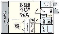 福岡県福岡市西区下山門2丁目の賃貸アパートの間取り