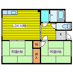 コーポ577A・B[A202号室]の間取り