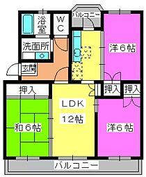 福岡県福岡市南区的場2丁目の賃貸マンションの間取り