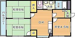 シャトレ三ケ森II[5階]の間取り