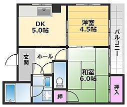 マンションホダカ 1階2DKの間取り