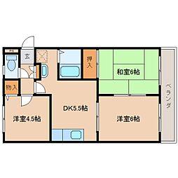 奈良県奈良市四条大路の賃貸アパートの間取り