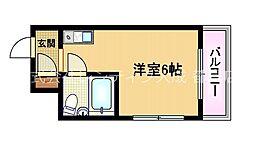 Osaka Metro谷町線 野江内代駅 徒歩7分の賃貸マンション 5階ワンルームの間取り