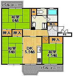 兵庫県宝塚市中山五月台5丁目の賃貸マンションの間取り