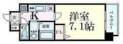 S-RESIDENCE新大阪South 2階1Kの間取り