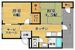 大和川マンション第3[2階]の間取り