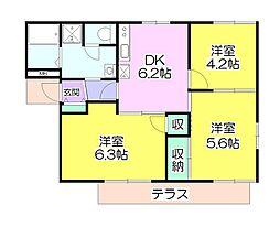 フレグランスセピアB[1階]の間取り