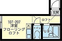 神奈川県横浜市鶴見区岸谷2丁目の賃貸アパートの間取り
