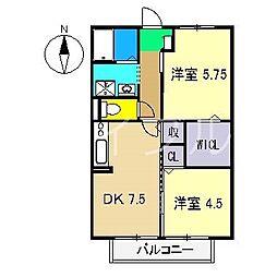 リヴェール北御座A棟[2階]の間取り