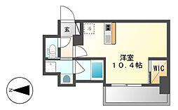 ハーモニーレジデンス名古屋新栄[6階]の間取り