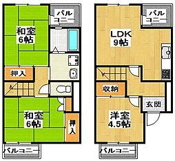 [タウンハウス] 大阪府大阪狭山市茱萸木4丁目 の賃貸【/】の間取り