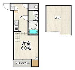 仮称)原田2丁目(2)A 1階1Kの間取り