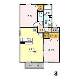 セジュール ガーデンII[2階]の間取り
