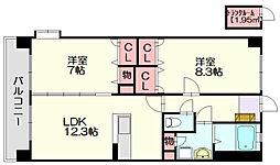 グランイーコート[8階]の間取り