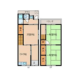 JR桜井線 長柄駅 徒歩5分の賃貸テラスハウス 1階3DKの間取り