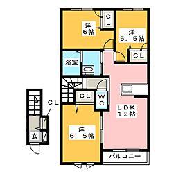 メルベーユコート A棟[2階]の間取り