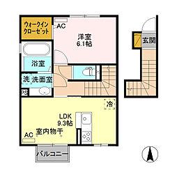 JR篠ノ井線 村井駅 徒歩12分の賃貸アパート 2階1LDKの間取り