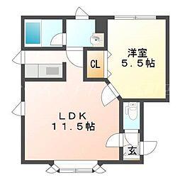 北海道札幌市東区北三十三条東17丁目の賃貸アパートの間取り