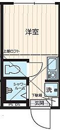 JR山手線 新宿駅 徒歩15分の賃貸アパート 地下1階ワンルームの間取り