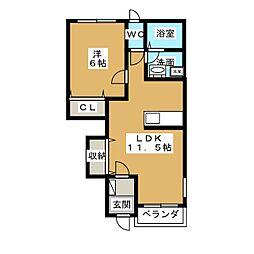 エルフ・ソレイユI[1階]の間取り