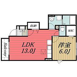 JR総武本線 八街駅 徒歩15分の賃貸アパート 1階1LDKの間取り