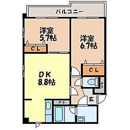 長崎県諫早市八天町の賃貸マンションの間取り