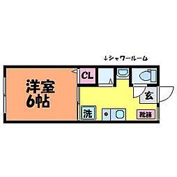 愛媛県松山市古三津2丁目の賃貸アパートの間取り