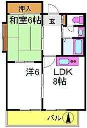 パールハイツ東三国 5階2DKの間取り