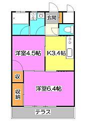 東京都東久留米市新川町1丁目の賃貸アパートの間取り