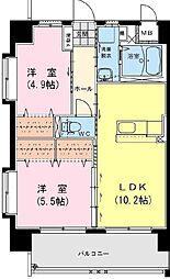 (賃)アンシャンテ・S[6階]の間取り