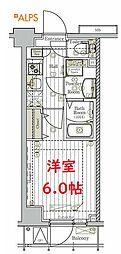 リライア阪東橋SOUTH 2階1Kの間取り