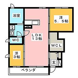ファミーユW A[1階]の間取り