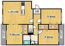 福岡県北九州市八幡西区香月西1丁目の賃貸マンションの間取り