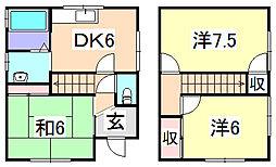 [タウンハウス] 兵庫県たつの市揖保川町神戸北山 の賃貸【兵庫県 / たつの市】の間取り