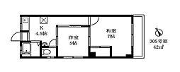 東京都目黒区青葉台1丁目の賃貸マンションの間取り