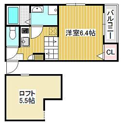 愛知県名古屋市中村区長戸井町4丁目の賃貸アパートの間取り